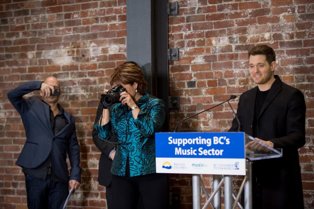 """Thanks to you Premier, people who want to pursue a music career here will be able to do so and not have to leave home, which is pretty incredible. I mean, for a long time, people have had to go to Ontario if they want to be able to afford to make the record…Truly, it's never been tougher to develop a career as an artist. The 15 million dollars that Premier Clark has committed to this industry, is going to help that BC does everything it takes to make a thriving and strong music scene."" - Micheal Bublé"
